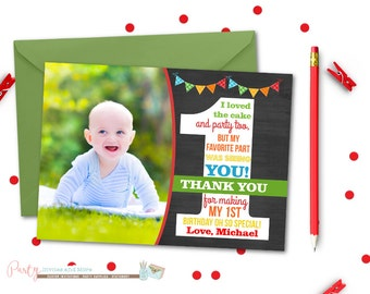 First Birthday Thank You Card, Chalkboard Thank You Card, Number One Thank You Card, Rainbow Thank You Card, Photo Thank You Card, Rainbows