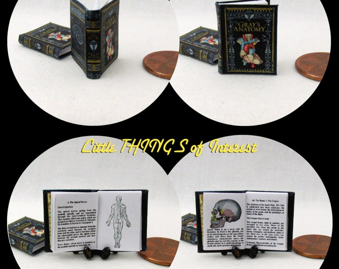 GRAY'S ANATOMY  Miniature Medical Text Book Dollhouse 1:12 Scale Readable Illustrated Book Doctor Health Medical Nurse Biology Human Body