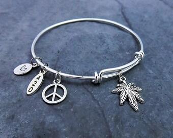 420 Bracelet - Expandable Bangle -  Charm Bracelet - 420 Jewelry - Pot Leaf - Marijuana Jewelry - Cannabis - Mary Jane - Weed Bracelet