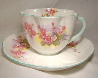 SHELLEY Blossom 13429 Tea Cup and Saucer Fluted Teacup English Bone China