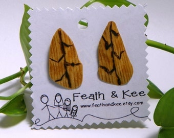 Jagged Leaf Wooden Earrings ReCycled Burned Design Unique One of a Kind Gift Idea