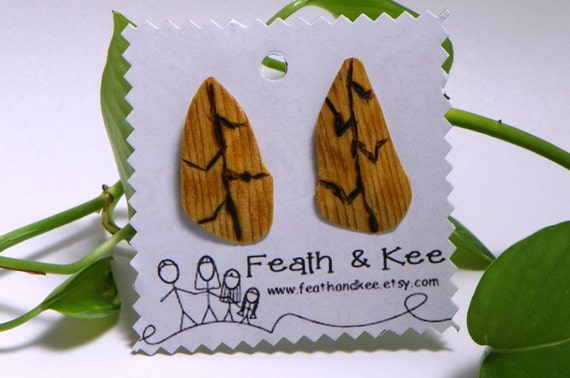 Jagged Leaf Earrings from Feath and Kee