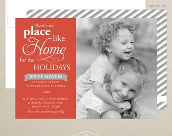 FREE SHIPPING!  Just Moved - New Address - Holiday Card - Christmas Card - Personalized - Photo Family Card - Digital or Printed