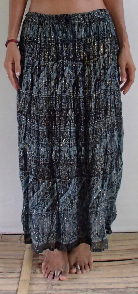 vintage boho indian maxi skirt w inner lining and elastic