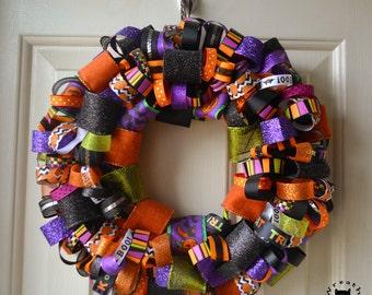 Batty Halloween Ribbon Wreath