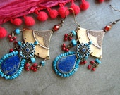 Reserved END Of Year SALE! Earthy, Bohemian Wanderer, Nomad Boho Gypsy Shield Chandeliers Antique Kuchi Lapis, Sleeping Beauty Turquoise