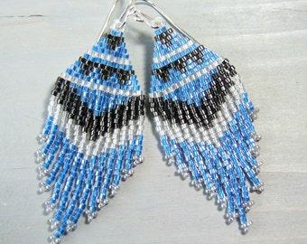 Fringe Earrings Blue Earrings Beaded Jewelry Boho Seed Bead Earrings, Statement Earrings Bohemian Beadwork, Sterling Earwires, Handmade Gift