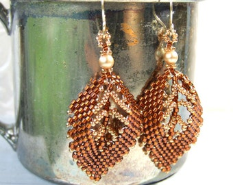 Autumn Leaf Earrings Beaded Boho Earrings, Autumn Jewelry, Seed Bead Jewelry Gold Filled, Unique Earrings Handmade Gifts For Her, Beadwork