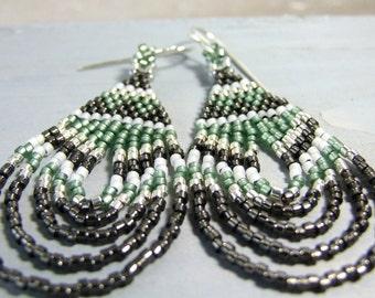 Bohemian Earrings Boho Seed Bead Jewelry Glass Sage Green Earrings Handmade, Sterling Silver, Unique Artisan Jewelry Gifts For Her, Beadwork
