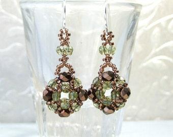 Small Dangle Earrings, Czech Glass Earrings, Green and Brown Earrings, Unique Gift, Beadwork Jewelry Sterling Silver Beaded Handmade Jewelry