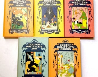 Doctor Doolittle Volumes by Hugh Lofting 5 Books 1950s