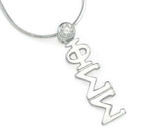 Phi Sigma Sigma Sterling Silver Lavaliere with Swarovski Clear Crystal // ΦΣΣ Sorority // Sorority jewelry // Gifts for Her // Greek Gifts