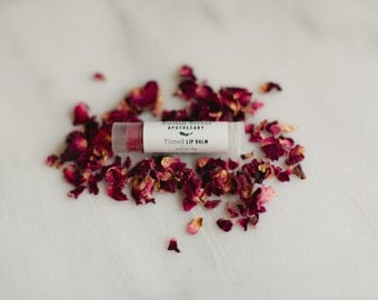 Tinted Lip Balm - Soothing Lip Conditioner - Chinese Rose & Alkanet Root- Handcrafted Natural Skin Care
