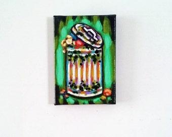 Trash, Magnet, Original Painting, Food Magnet, Trash Painting, Kitchen Art, Painted Magnet, Trash Painting