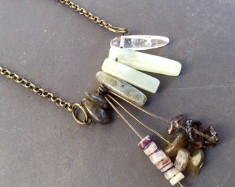 Jade Necklace - Gemstone Statement Necklace - Chinese Jade Necklace - Long Chain Necklace - Gemstone Jewelry - Healing Crystal Necklace