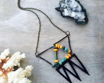 Crystal Statement Necklace - Gemstone Statement Necklace - Black Leather Necklace - Turquoise Necklace - Green and Orange Necklace