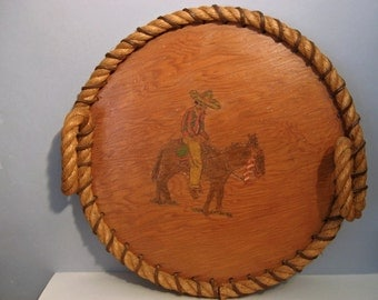 Vintage Hand Painted Mexican Rope Wood Burro Pyrography