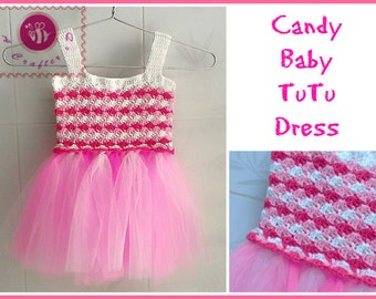 Candy baby tutu dress pdf crochet pattern ( size 12 months to 4T toddler )