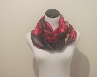 Silk Scarf.Red Silk Scarf. Abstract Scarf. Silk Scarves