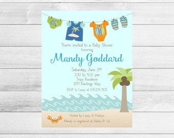 Beach Baby Shower Invitation, Boy Clothesline, Printable, Digital Invite File, Ocean, Tropical