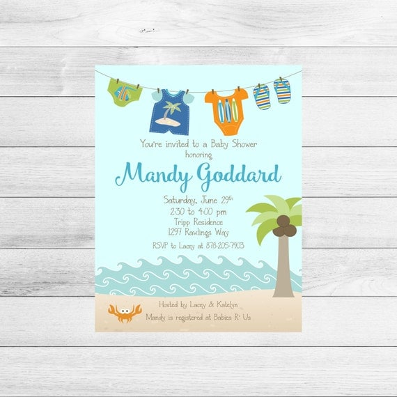 beach baby shower invitation boy clothesline printable digital