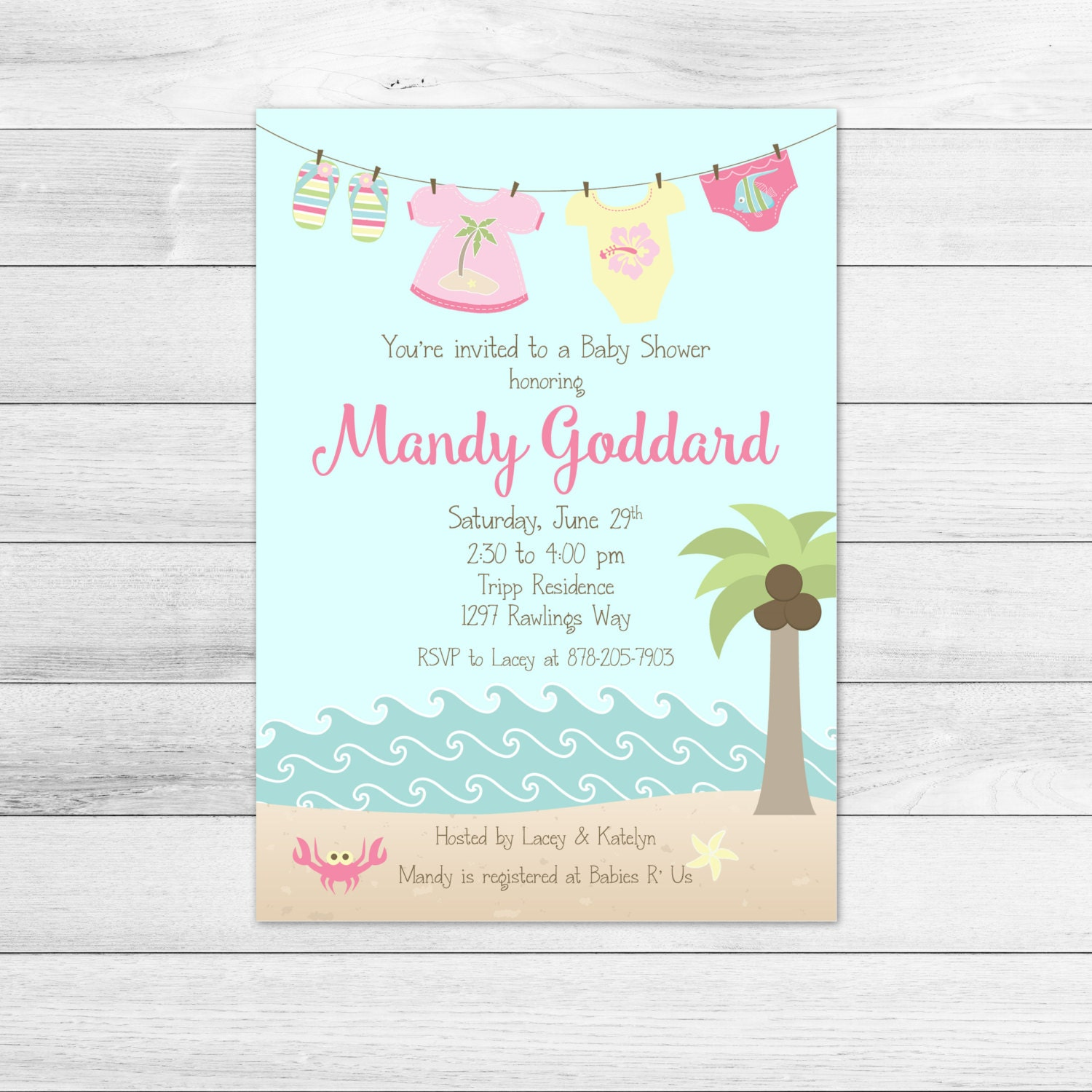 girl beach baby shower invitation printable digital