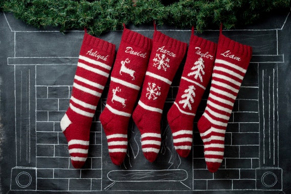 Set of 5 Personalized Hand Knit Christmas Stockings