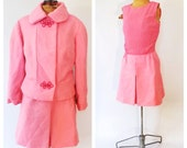 Vintage 1960s Dress and Matching Blazer Hot pink Mod Dress and Jacket Mad Men Classic First Lady Suit Dress Winter 1960s Two Piece Outfit