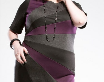 Plus Size Dress, Color Block Plus Size Knit Dress, Womens Dress, Black White and Purple Knit Dress, Ponte Knit Plus Size Dress