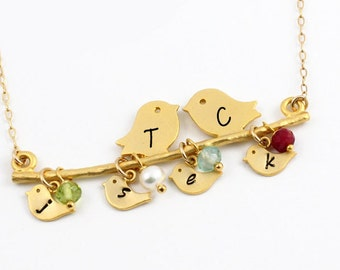 Mother's Necklace, Gold Initial Necklace, Birthstone Jewelry, ACharmedImpression, Personalized Monogram, Mom Necklace, New Mom Gift, Unique