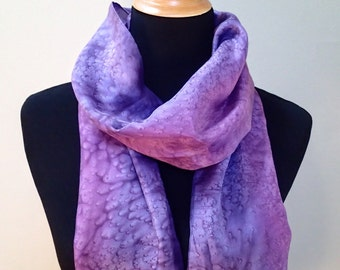 Hand painted silk scarf in purples