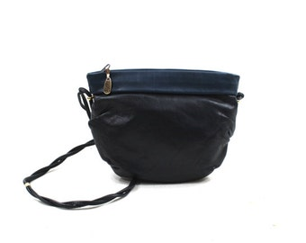 navy blue leather shoulder bag / small blue purse / Italian leather bag