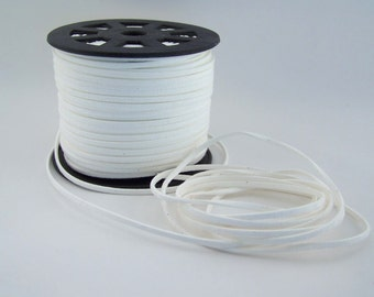 White Faux Suede Cord 20 Feet USA Seller