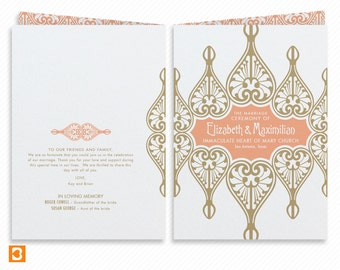 Art Nouveau Printable Wedding Program Booklet with Print-at-Home Thank You Card Print-ready Wedding Dinner Menu and Place cards