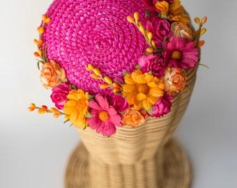 Straw mini hat · flowers millinery headpiece · wedding guest fascinator· bridal flowers · Pink Fucsia