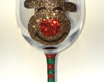 Reindeer Christmas wine glass