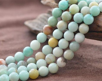 Natural Colorful Amazonite Beads NOT Dyed 6mm 8mm 10mm 12mm Smooth Polished Round 15 Inch Strand AM08