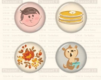 October Afternoon Saturday Mornings Tin Pins, Flair Buttons, Scrapbook Embellishment