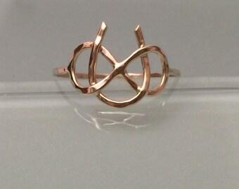 14k Infinity Ring, 14k horse shoe ring, Horse shoe ring, 14k gold ring