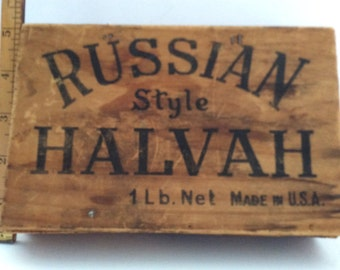 Antique/Vintage Wood Finger Joint Box for Russian Style Halvah, Made in USA, by Dykman Chocolate Co Inc New York City