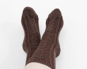 Brown wool socks, Knit rustic socks, Cabled socks, Cableknit socks, Hand knit socks, Winter socks, Warm brown socks, Gift for her
