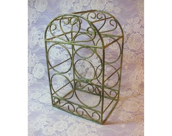 Vintage Wine Rack, Metal with Shabby Chic Chippy Green Paint with Heart Design, Holds 4 Bottles