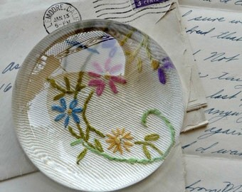 Paperweight - Floral Embroidery