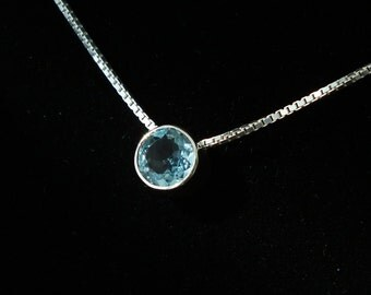 "Floating gemstone necklace, Sky Blue Topaz in Sterling Silver on 18"" Sterling box chain, Free Shipping, USA Hand Made"