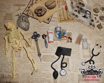 Dollhouse MIniature Doctors Office Stethoscope, Pill Bottles, Skeleton, Vintage Medical Posters, Hypodermic Needle- Blythe Doll Accessories