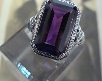 Lovely Sterling Silver Filigree Amethyst Ring  Size 6 3/4