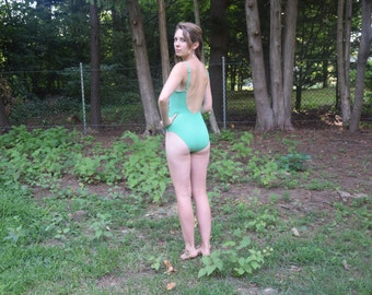 Vintage Green One Piece Backless Swimsuit