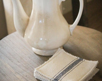 French Grain Sack Coasters - Set of 4