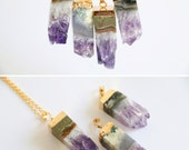 Amethyst Necklace,raw crystal necklace,raw stone jewelry,gemstone necklace,layered necklace,OOAK, raw quartz necklace,dipped gold crystal