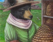 SISTER URSULA black bear bee keeper Iona Abbey medieval renaissance portrait fine art print limited edition giclee